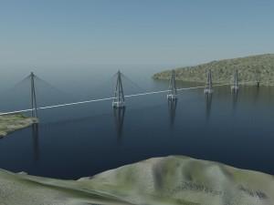Nye E39 vil inneholde en rekke bruer, blant anent denne skråstagbrua med flytende pontonger som er planlagt mellom