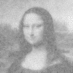 Yndet øvelse for optimeringseksperter: Japanske Yuichi Nagata har funnet den hittil korteste veien innom alle 100 000 rasterpunktene i Mona Lisa. Ill: Robert Bosch