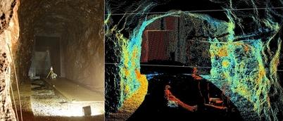 Foto og laserskannet bilde fra sandfanget i Tonstad kraftverk. (Illustrasjon: Cedren)