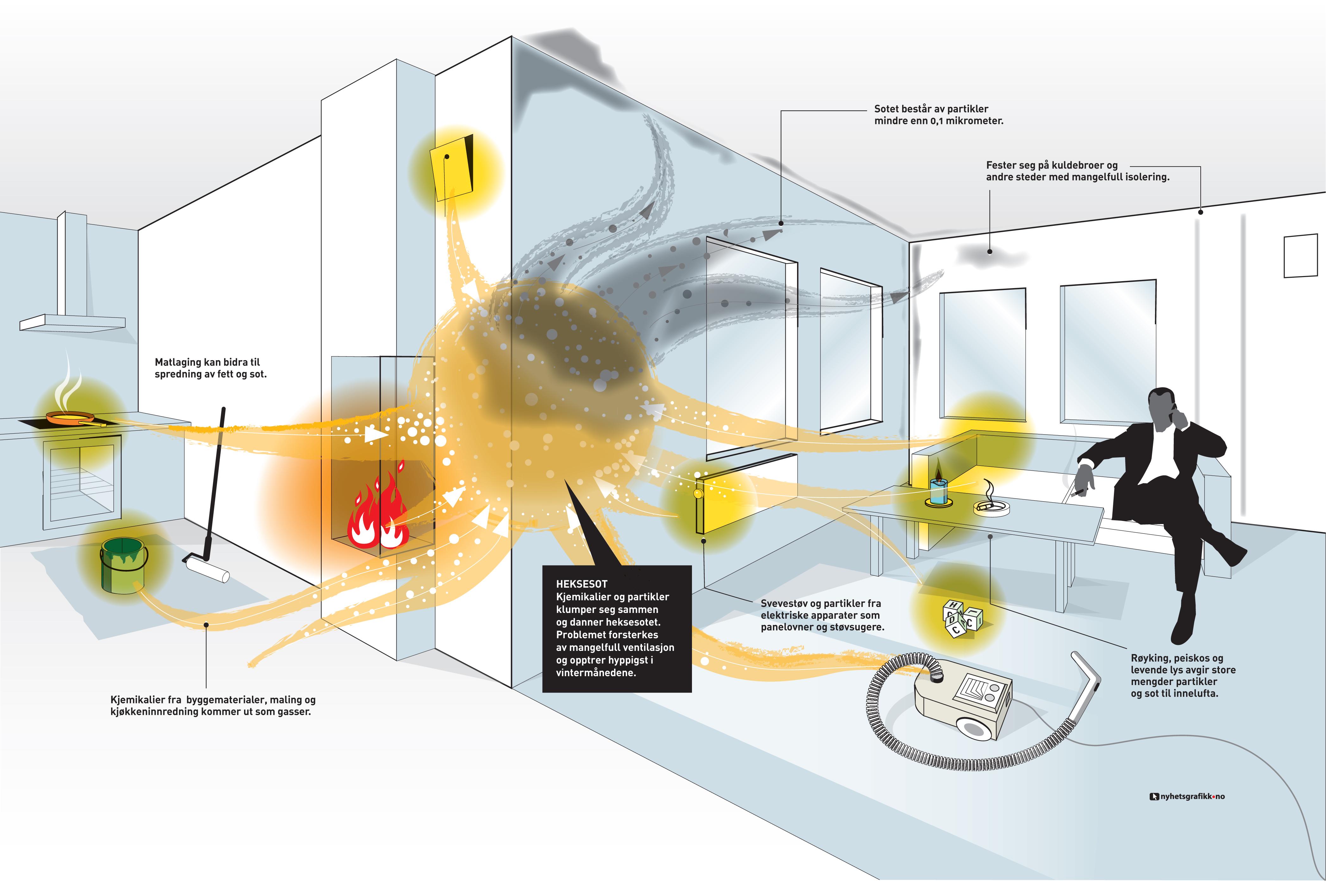 Heksesot kan være et stort problem i nyoppusede hjem. Illustrasjon: Doghouse.