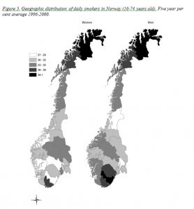 Kartet viser hvordan røykere i Norge fordelte seg i årene 1996-2000.