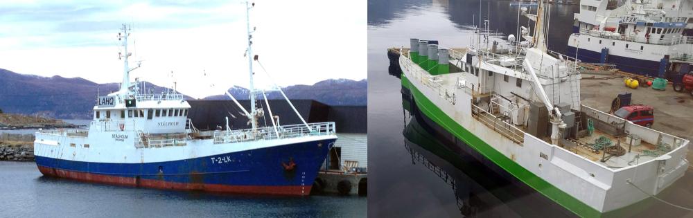 Før og etter: Slik så den ut, fiskebåten som i dag er blitt til et lite kraftverk. Nå ligger den ankret opp utenfor Stadt og produserer strøm. Målet til Havkraft AS er å oppskalere anlegget til hydrogenproduksjon. Foto: Havkraft AS