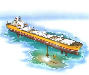 «Seaway Sandpiper» var det første skipet med såkalt autotrack-funksjonalitet. Det kunne følge en rørgate med rette linjer mellom to geografiske punkter. Illustrasjon: Kongsberg Maritime