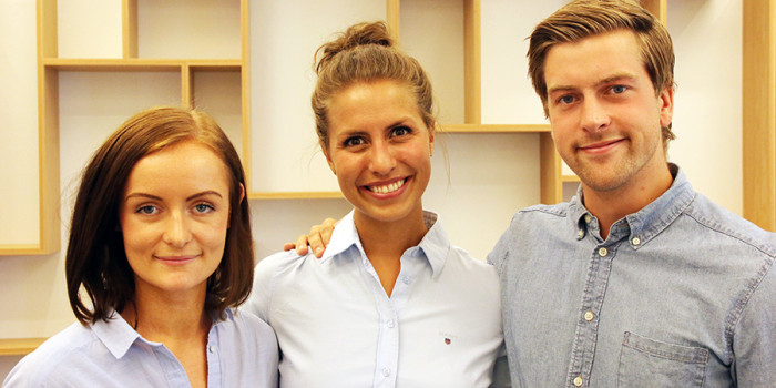 With their new ChemFree technology, Anette Andersen, Nina Heir and Karl Nevland hope to enable oil spills to be cleaned up in a greener way. Their technology was one of the competitors in the European finals of the Climate LaunchPad competition. Photo: Idun Haugan/NTNU
