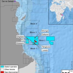 Kart som viser hvor på Tanzanias sokkel Statoils funn ligger